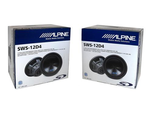 """2 x ALPINE TYPE-S SWS-12D4 12"""" CAR AUDIO DUAL 4-OHM SUB WOOFER 500W RMS"""