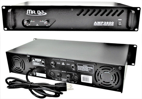 MR DJ AMP3800 PRO Series Power Dj Amplifier with 2 Channels and 3800 Watts Peak Momentary Power Output