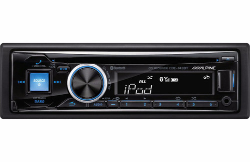 Alpine CDE-143BT Single-DIN Bluetooth Car Stereo w/ USB, Auxiliary Input and 2-Way iPod Control