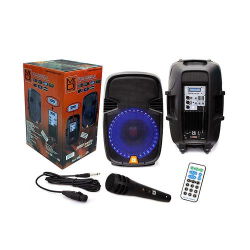 """MR DJ PBX2659LB 15"""" PA/DJ Bluetooth Mp3 FM Radio Speaker W/ Accent Lighting Remote"""
