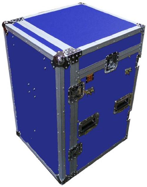 MR DJ CASE5000BL Blue ATA 16 Space 10 Slanted Top 16U 10U Mixer Amp Dj CD Combo Rack Flight Case With Laptop Shelf