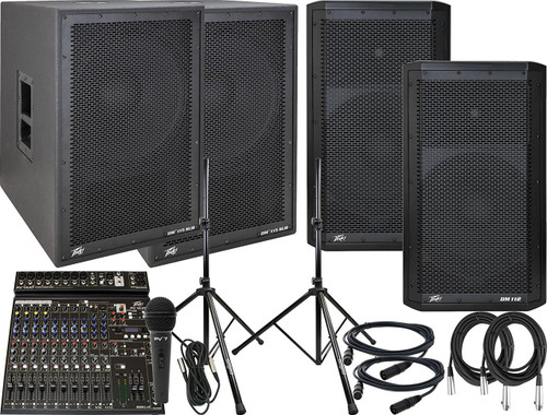 Peavey Mid-Size Combo PA System with DM112 Pair, DM115 Sub Pair, PV14 AT Mixer, Mic, Cables, and Stands