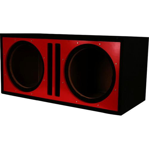 "Absolute Pdeb10rd (Red/black) Dual 10"", 3/4"" MDF Twin Port Subwoofer Enclosure w/ Red High Gloss Face Board"
