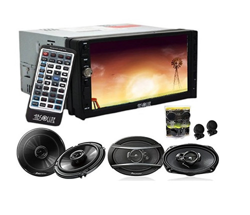 Absolute DD-3000ABT 7-Inch Double Din Multimedia DVD Player With Pioneer TS-G1645R 6.5, TS-A6966R 6x9 Speakers And Free Absolute TW600 Tweeter