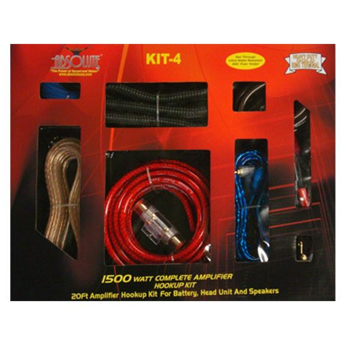 Absolute KIT4 4 Gauge 2000W Pro Blue Car Amplifier Complete Installation Amp Kit Power Wiring with Red Accent Color Scheme