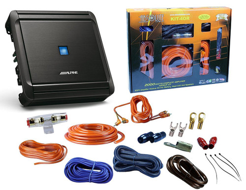 Alpine MRV-M500 500W V-Power Series Class D Monoblock Digital Amplifier  + Absolute KIT4 4 Gauge Complete Amplifier Kit