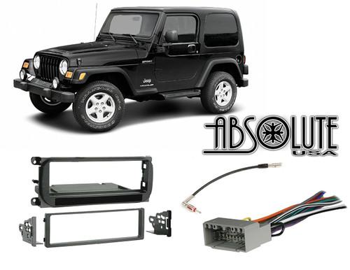 Absolute RADIOKITPKG16 Fits Jeep Wrangler 2003-2006 Single DIN Stereo Harness Radio Install Dash Kit