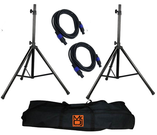 Mr. Dj SS850PKG Tripod Speaker Stand Package with Bag and Cables