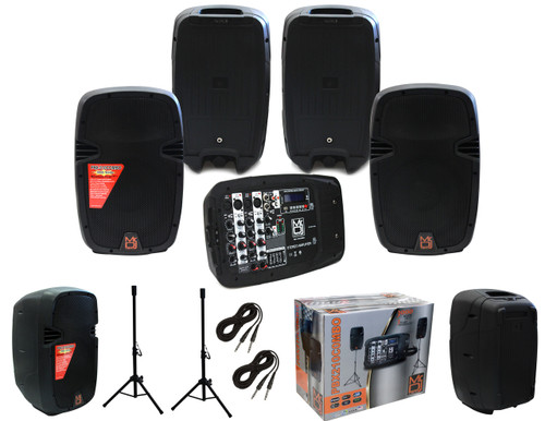 """MR DJ PBX210COMBO PORTABLE ALL IN ONE PERSONAL PA/DJ SYSTEM 2X 10"""" 3000W BLUETOOTH ACTIVE SPEAKER WITH DETACHABLE MIXER & STANDS"""