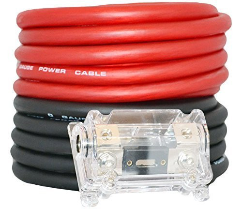 Absolute USA KIT0-25RB 0 Gauge Red / Black Amplifier Amp Power/Ground 1/0 Wire Set 50 Feet SuperFlex Cable 25 Each, ANL Fuse Holder