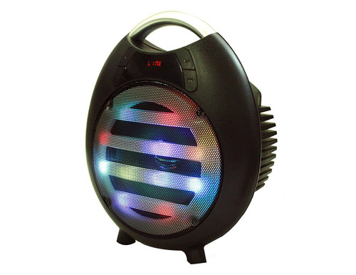 Mr. Dj PPS65LED Portable Speaker FM Radio Built-In Bluetooth USB/Mini SD Slot MP3 Player w/ Rechargeable Battery