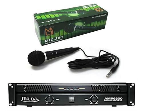 Mr. Dj AMP6800 2 Channel Professional Power Amplifier With Mr. Dj MIC200