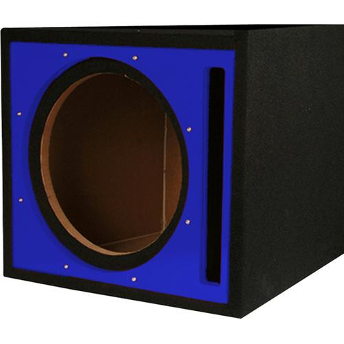 "Absolute Pseb12bl (Black/blue) Single 12"" Ported Subwoofer Enclosure with Blue High Gloss Face Board and Black Carpet"