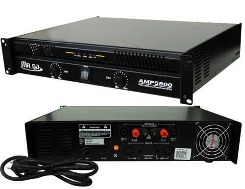 MR DJ AMP5800 PRO Series Power Dj Amplifier with 2 Channels and 5800 Watts Peak Momentary Power Output