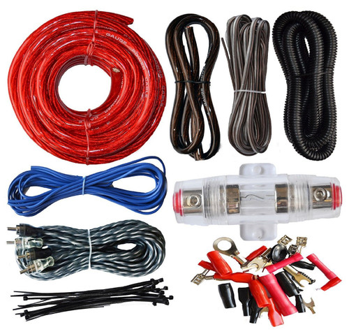 Absolute USA KIT4 4 Gauge Amp Kit Amplifier Install Wiring Complete 4 Ga Installation Cables 2200W