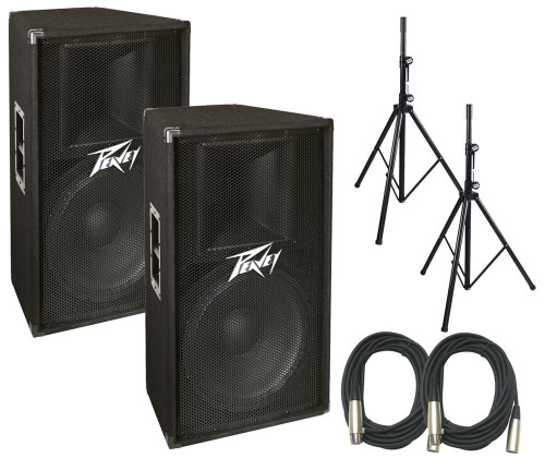 Peavey PV115D PA Speaker Bundle w/ Stands & Cables