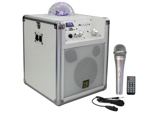 Mr. Dj PC101W White Portable Party Box With LED Globe