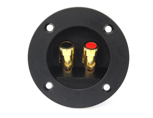 Absolute USA RST-350 3-Inch Round Gold Push Spring Loaded Jacks Double Binding Post Speaker Box Terminal Cup