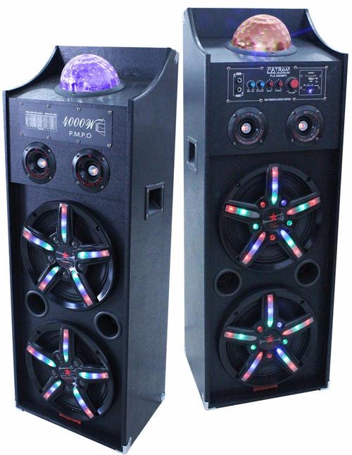 Patron Audio Pro PLS-4000PKG Dual 10-Inch Speakers with Flashing Lights