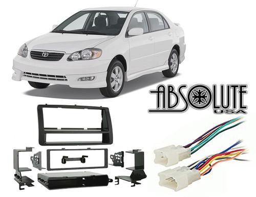 Absolute RADIOKITPKG15 Fits Toyota Corolla 2003-2008 Single DIN Harness Radio Install Dash Kit