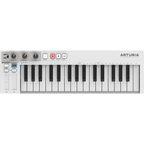 Arturia KeyStep 32-key Slim Keyboard with Polyphonic Step Sequencing; Chord and Arpeggiator Modes; Capacitive Pitch and Mod Strips; and CV/Gate, MIDI, DIN Sync, and Sync I/O