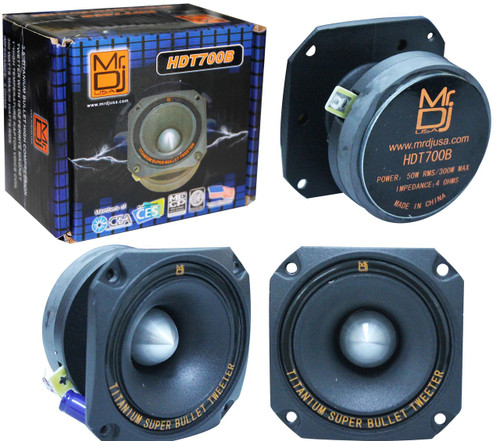 MR DJ HDT700B 3.5-INCH TITANIUM BULLET HIGH COMPRESSION TWEETER WITH 10 OUNCE FERRITE MAGNET (BLACK)