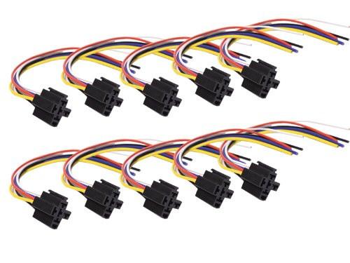 Absolute USA SRS105-10 5-Pin 12 VDC Interlocking Relay Socket, 10 Set