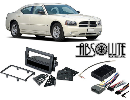 Absolute RADIOKITPKG13 Fits Dodge Charger 2005-2007 w/ NAV Single DIN Car Harness Radio Dash Kit