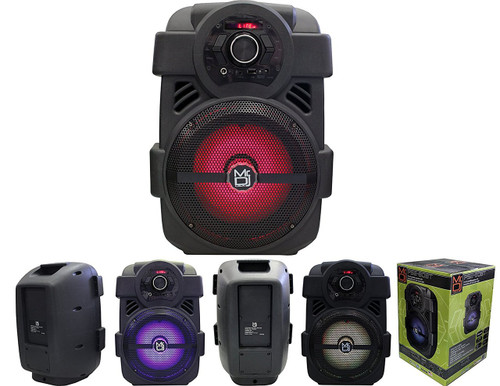 "MR DJ PSE80BT 8"" Portable Active Speaker with Rechargeable Battery Party Speaker with Bluetooth 1200 Watts P.M.P.O"