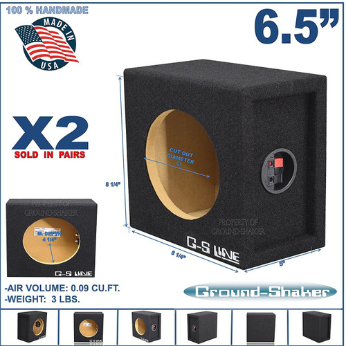 2x Ground Shaker SQ6.5 Single Square Subwoofer Enclosure Speaker Box - Black