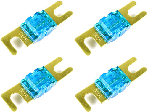 ABSOLUTE AFS60-4 4 PACK OF 60 AMP GOLD AFS / MIDI / MINI ANL FUSES