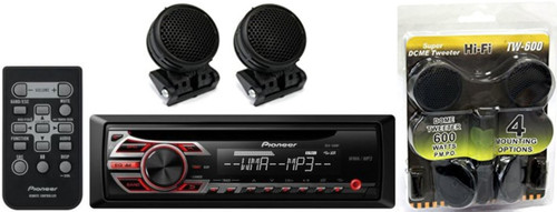 PIONEER DEH-150MP CAR AUDIO STEREO CD MP3 PLAYER RECEIVER WITH REMOTE CONTROL + ABSOLUTE 500 WATTS MAX TWEETER