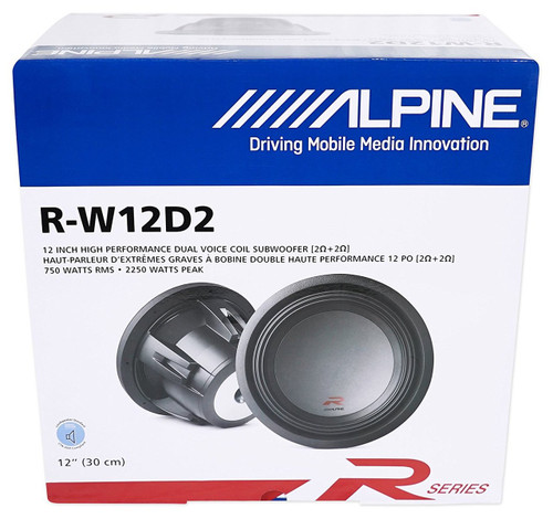 "Alpine R-W12D4 2250W Max (750W RMS) 12"" R-Series Dual 4-Ohm Car Subwoofer"