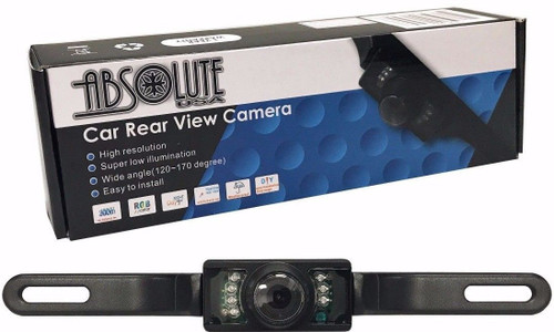 ABSOLUTE CAM-600 LICENSE PLATE BOLT-ON REAR VIEW CAMERA W/ BUILT-IN I.R. CAMERA