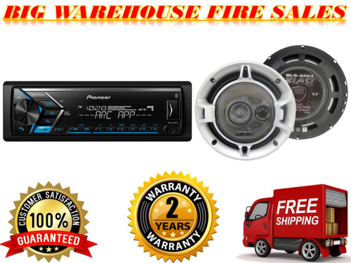 "PIONEER MVH-S300BT SINGLE DIN BLUETOOTH IN-DASH AM/FM/DIGITAL MEDIA CAR STEREO RECEIVER W/ DUAL PHONE CONNECTION  + ABSOLUTE  BLS6503 6.5"" 3WAY SPEAKER"