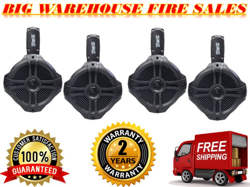 "4 Absolute MPS65BK Black Marine-Grade RV Titanium 6.5"" 200w Rms Total Wake Tower Pod Waterproof Enclosure Speaker (Two Pair)"