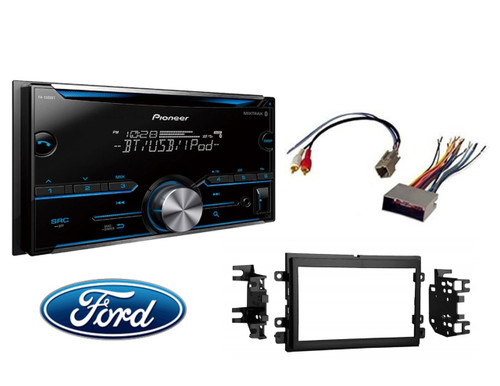 Pioneer FH-S500BT Double DIN Bluetooth In-Dash CD/AM/FM Car Stereo Receiver w/ Pandora and Spotify Control Double Din Stereo Install Kit W Wire Harness For Ford Lincoln Mercury Cars