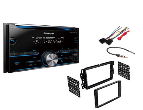 Pioneer FH-S500BT Double DIN Bluetooth In-Dash CD/AM/FM Car Stereo Receiver w/ Pandora and Spotify Control Car Radio Stereo 2-Din Dash Kit Harness for 2006-16 Buick Chevrolet GMC Pontiac
