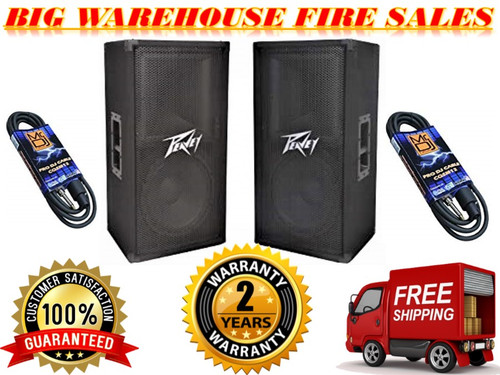 "(2) Peavey PV112 12"" Two Way 1600 Watt Pro Audio DJ Live Sound Speakers + Cables"