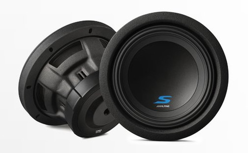 "Alpine S-W8D4 900W Max (300W RMS) 8"" Type S Series Dual 4 Ohm Car Subwoofer"