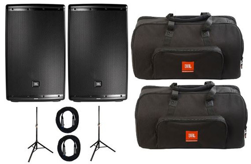 JBL EON612 Powered 2-Way Speaker Pair with Stands Bags And Cables
