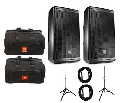 JBL EON610 Powered 2-Way Speaker Pair with Stands Bags And Cables