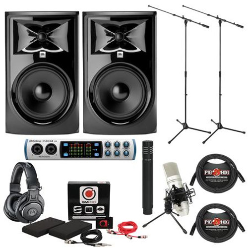 JBL 305 MKII Studio Monitor And PreSonus AudioBox 96 Recording Bundle