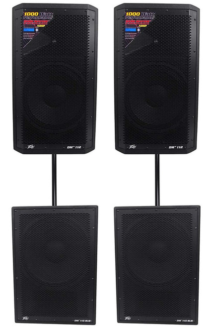 "(2) Peavey DM 112 12"" 1000W Powered PA Speakers+(2) DM 115 1000W 15"" Subwoofers"