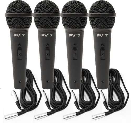 4 Peavey PV 7 ND Magnet Dynamic Microphone w/ XLR Cables 1