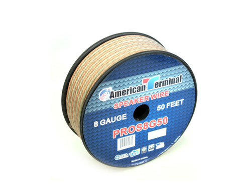 American Terminal PROS8G50 50 ft. of 8 Gauge Pro Series Clear Speaker Wire