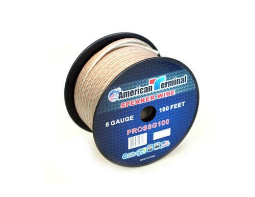 American Terminal PROS8G100 100 ft. of 8 Gauge Pro Series Clear Speaker Wire