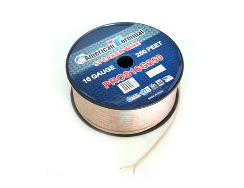 American Terminal PROS16G250 250 ft. of 16 Gauge Pro Series Clear Speaker Wire
