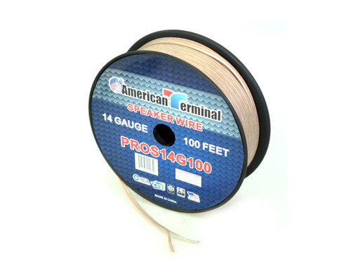American Terminal PROS14G100 100 ft. of 14 Gauge Pro Series Clear Speaker Wire