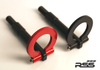 """941/34 Folding Tow Hook 991.1 - 991.2 Gt2/GT3/RS, 991, 970, 971, 981, 718, Finish: BLACK. RSS Tow Hooks for Porsche Automobiles. Designed, engineered and manufactured in USA. High quality and functionality for your Porsche. RSS Folding Tow Hooks for Porsche Models are engineered with a 90 Degree Angle Stop Design and with Adjustable Bumper Offset to prevent bumper cover contact. Made in USA at RSS. Easy to Install, Screws Into Factory Location; Black 1018 Steel Shaft w/Stainless Steel Hoop; Angle of Hoop is Adjustable; 2"""" Opening; Utilizes Special Factory Porsche Thread Style; BLACK (#941/30), and RED (#941/34)."""